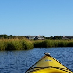 View of Mattakesett South Beach 5 Home as Seen from a Kayak in the Bay