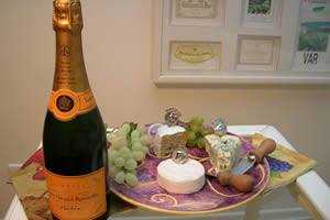 Bottle of Champagne, Fruit & Cheese at the Winnetu