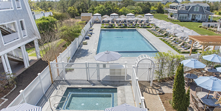 View of the Brand-New Winnetu Swimming Pool, Hot Tub & Pool Deck Area with Furniture