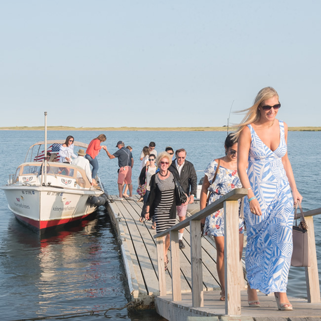 View of People Arriving to The Dunes on the Water Taxi Cruise Boat