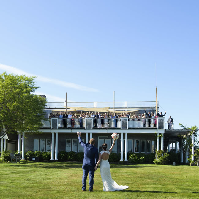 View of Wedding Couple on the Front Lawn at the Winnetu Oceanside Resort