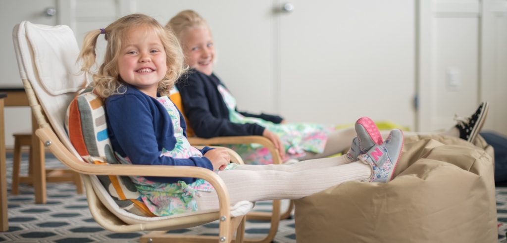 Girls Relaxing on Bean Bag Chairs in the Kids' Corner Play Area at The Dunes Restaurant