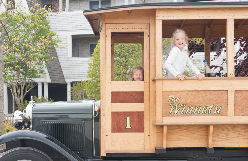 Little Girls Riding in the Antique Woodie Wagon at the Winnetu